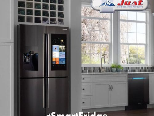 gunmetal grey smart fridge in kitchen