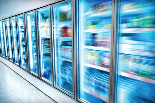 commercial fridges with hazy blue view