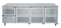 commercial stainless steel fridge with 3 glass doors