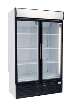 two door glass commercial fridge