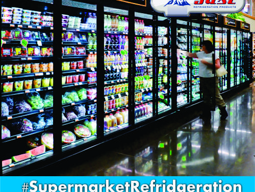 commercial supermarket fridge with cool drinks in it