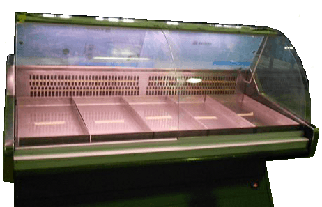curved glass deli fridge