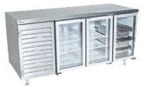 commercial fridge with glass doors silver