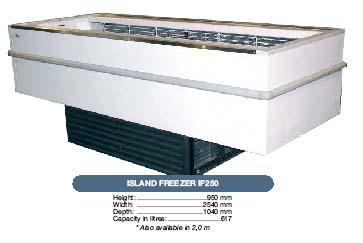 white and black island freezer IF250