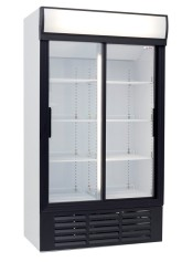 two door glass commercial fridge small
