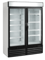 glass two door commercial fridge