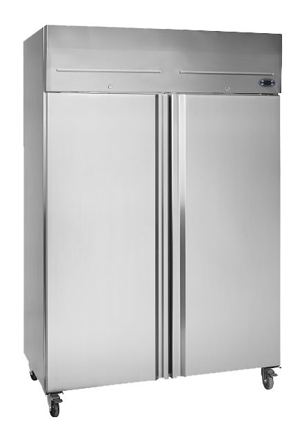 two door stainless steel commercial fridge on wheels