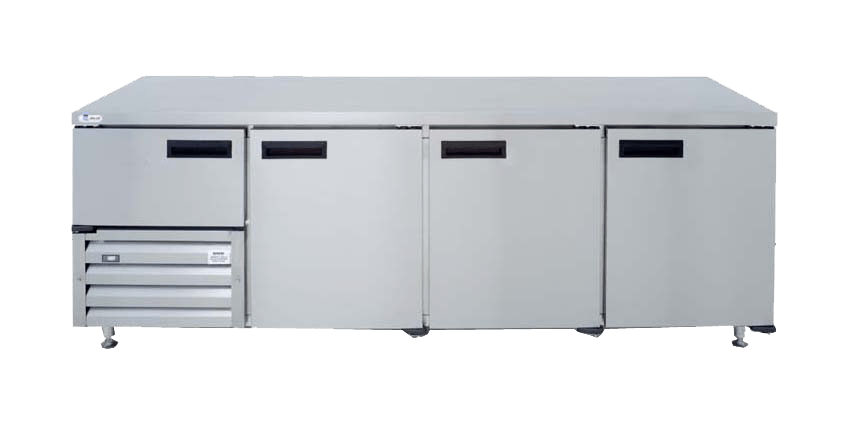 commercial stainless steel fridge with three doors