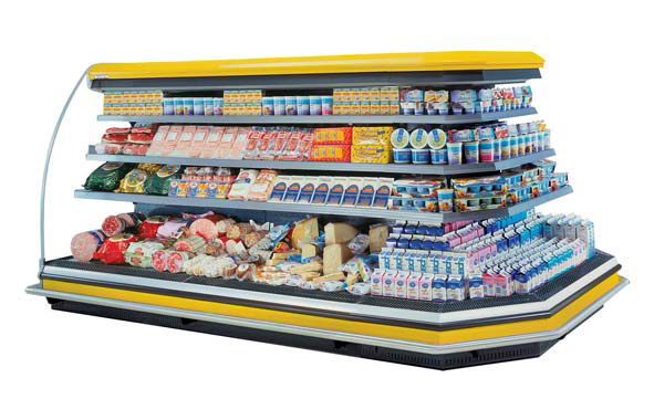 commercial dairy fridge with cheese and yogurt