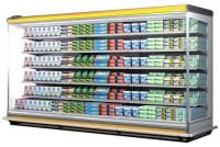 commercial supermarket fridge with diary products and yellow strip