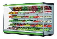 commercial fresh produce fridge with green strips
