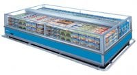 commercial supermarket fridge with frozen food inside