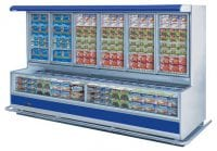 commercial supermarket fridge with blue strip and frozen food