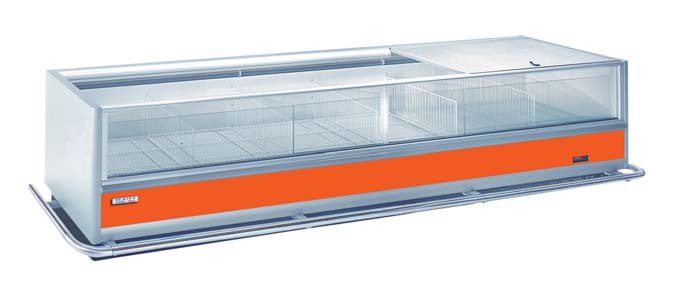 commercial supermarket fridge with orange strip