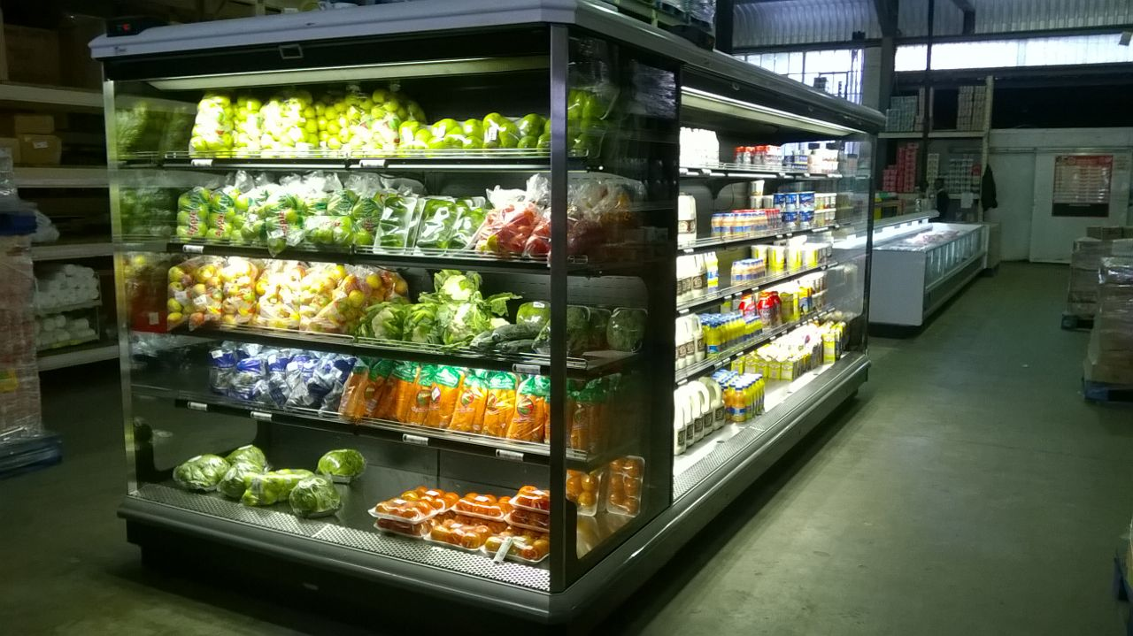 supermarket fridge with fresh produce in it
