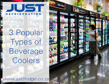 beverage cooler fridge with cool drinks in it