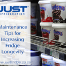 Yoghurt display in commercial fridge