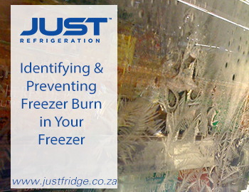 a frosted commercial fridge window with food inside
