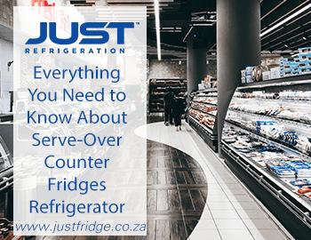 Over-counter fridge in supermarket